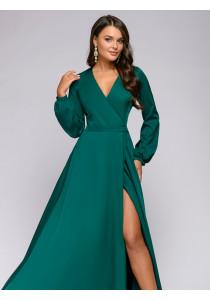 Платье изумрудного цвета длины макси с запахом