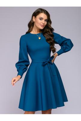 Платье цвета морской волны длины мини с объемными рукавами